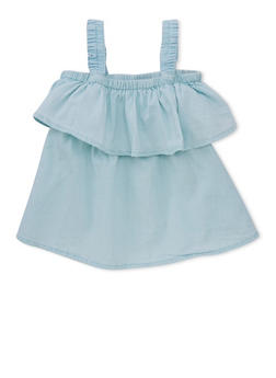 Girls 4-6x Off the Shoulder Chambray Top with Ruffle Overlay - 1605038340033