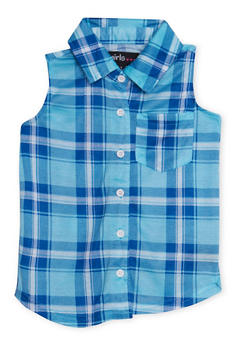 Girls 4-6x Sleeveless Button Up Plaid Shirt - 1605038340035