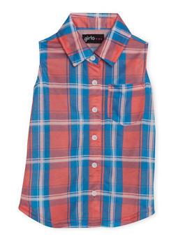 Girls 4-6x Sleeveless Button Up Plaid Shirt - 1605038340035