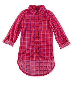 Girls 4-6x Plaid Button Up High Low Top - 1605038340037