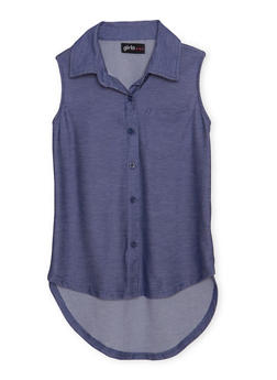 Girls 4-6x Denim Knit High Low Sleeveless Top - 1605038340038