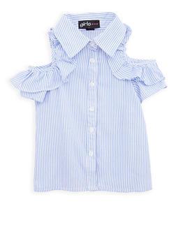 Girls 4-6x Striped Cold Shoulder Button Front Shirt - 1605038340066