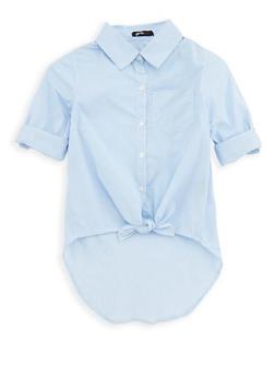 Girls 4-6x Striped Button Front Shirt - 1605038340071