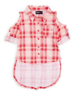 Girls 4-6x Plaid Cold Shoulder Button Front Shirt - 1605038340074