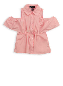 Girls 4-6x Cold Shoulder Button Front Shirt - 1605038340076
