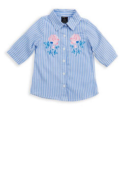 Girls 4-6x Striped Embroidered Button Front Shirt - 1605038340078