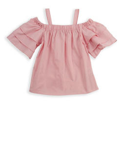 Girls 4-6x Tiered Sleeve Off the Shoulder Top - 1605038340083