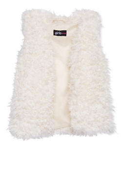 Girls 4-6x Faux Shearling Vest with Open Front - 1605038341205