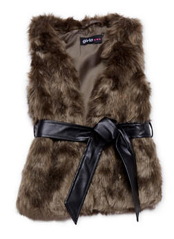 Girls 4-6x Faux Fur Vest with Faux Leather Belt - 1605038341206