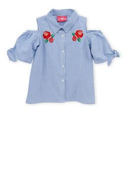 Girls 4-6x Striped Cold Shoulder Button Front Shirt - 1605048370002