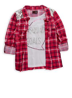 Girls 4-6x Sequin Plaid Button Front Top - 1605073990001