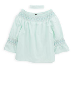 Girls 7-16 Smocked Trim Top with Choker Necklace - 1606023130006