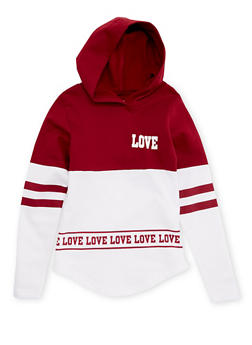 Girls 7-16 Hooded Color Block Top with Stripes and Love Print - 1606033870013
