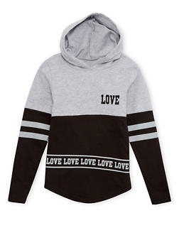Girls 7-16 Fleece Hoodie with Love and Stripes Print - 1606033870014