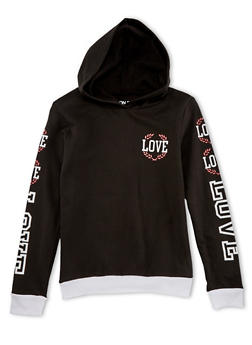Girls 7-14 Graphic Long Sleeve Hoodie - 1606033870090