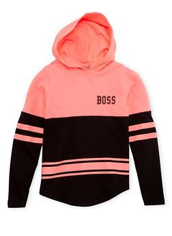 Girls 10-16 Varsity Hoodie with Boss Graphic - 1606033870092