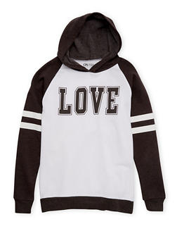 Girls 7-16 Hoodie with Love Print - 1606033870095
