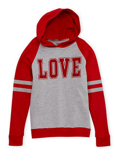 Girls 7-16 Hooded Top with Love Graphic - 1606033870096