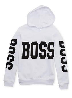 Girls 7-16 Fleece Hoodie with Boss Print - 1606033870097