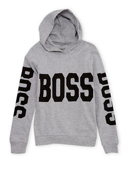 Girls 7-16 Hooded Top with Boss Print - 1606033870099