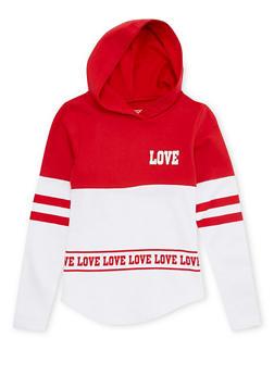 Girls 7-16 Color Block Hoodie with Love Print - 1606033870112