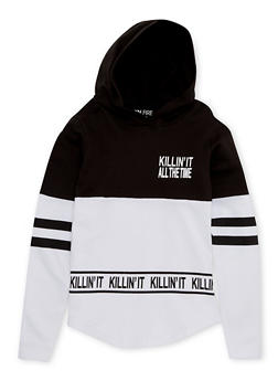Girls 7-16 Hoodie with Killin It All the Time Graphic - 1606033870121