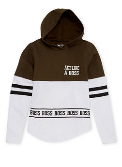 Girls 7-16 Hooded Top with Act Like a Boss Graphic - 1606033870125