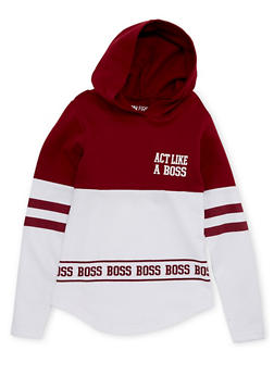 Girls 7-16 Hoodie with Act Like A Boss Graphic - 1606033870126