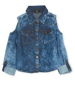 Girls 7-16 Denim Top with Cold Shoulders and High Low Hem - 1606038340001