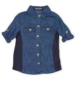 Girls 7-16 Denim Shirt with Rib Knit Sides - 1606038340002