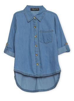 Girls 7-16 High Low Shirt in Denim - 1606038340009
