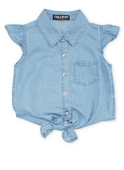 Girls 7-16 Chambray Button Up Top with Knotted Hem - 1606038340011