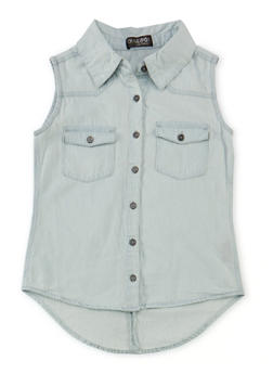 Girls 7-16 Sleeveless Denim Button Front Shirt - 1606038340012