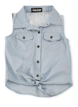 Girls 7-16 Sleeveless Chambray Shirt with Lace Panel and Tie Front - 1606038340013