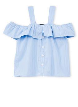 Girls 7-16 Striped Cold Shoulder Top - 1606038340024