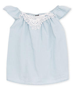 Girls 7-16 Off The Shoulder Chambray Top with Crochet Trim - 1606038340028