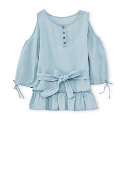 Girls 7-16 Belted Cold Shoulder Denim Top with Ruffle Hem - 1606038340037