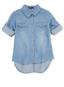 Girls 7-16  Denim Button Up Shirt with Tab Sleeve - 1606038340038