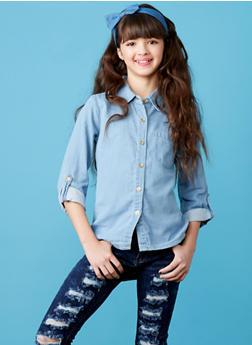 Girls 7-16 Denim Button Up High Low Shirt - 1606038340039