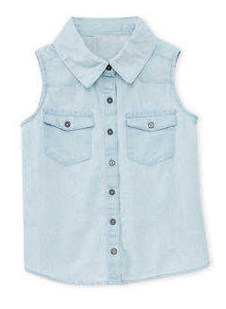 Girls 7-16 Sleeveless Chambray Button Front Shirt with Lace Backing - 1606038340040