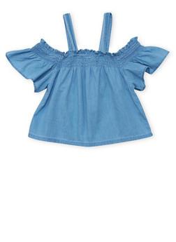 Girls 7-16 Denim Smocked Cold Shoulder Top with Flutter Sleeves - 1606038340045