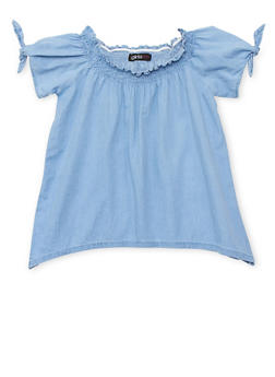 Girls 7-16 Smock Neck Denim Top with Sharkbite Hem - 1606038340046