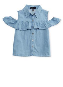 Girls 7-16 Ruffled Cold Shoulder Denim Button Front Shirt - 1606038340048