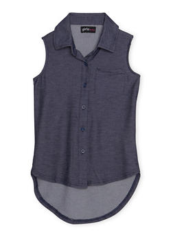 Girls 7-16 Denim Knit Sleeveless High Low Button Up Shirt - 1606038340054