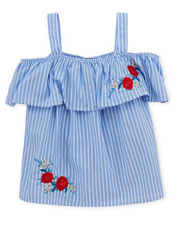 Girls 7-16 Striped Off the Shoulder Top with Floral Applique - 1606038340094