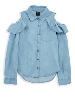 Girls 7-16 Denim Cold Shoulder Top - 1606038340096