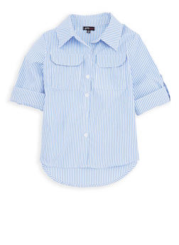 Girls 7-16 Striped Button Front Top - 1606038340097
