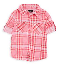 Girls 7-16 Plaid Button Front Shirt - 1606038340114