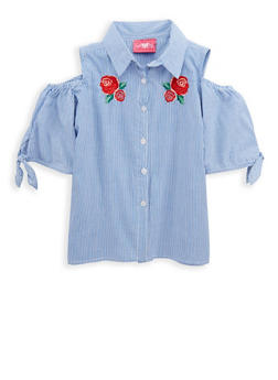 Girls 7-16 Striped Cold Shoulder Top with Floral Embroidery - 1606048370002