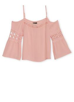 Girls 7-16 Crinkle Gauze Top with Crochet Trim - 1606051060002